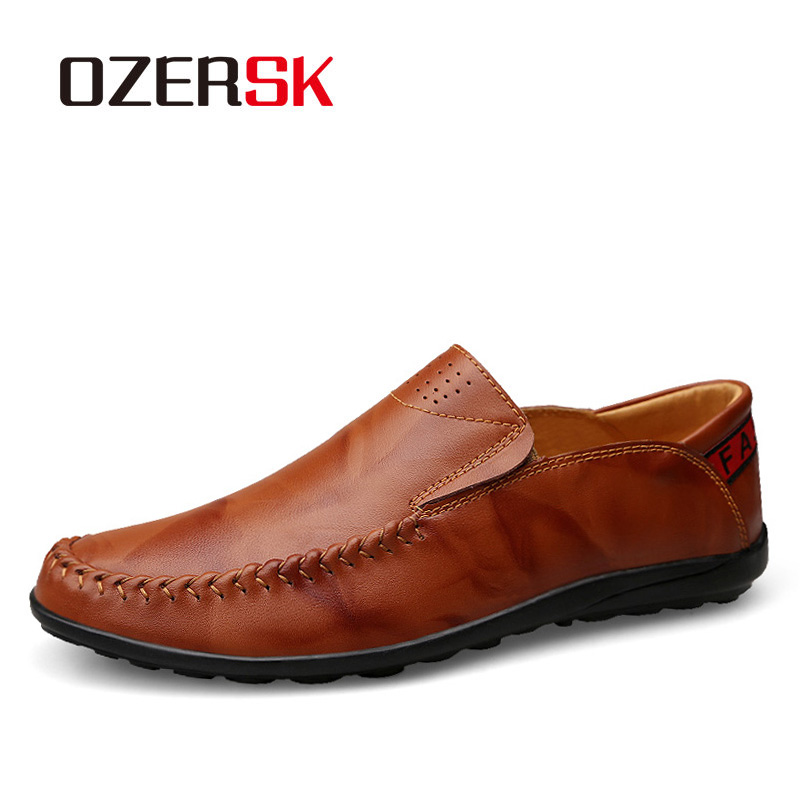 En Cuir Des Plat red dark black Ozersk Mâle Hommes Respirant Casual Véritable Mocassins yellow Brown Appartements Khaki De Blue Chaussures Brown Conduite qxwtIw8