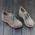 Zapatos de Mujer Pisos Señoras del Cuero Genuino Zapatos Planos de Las Mujeres zapatos Casuales punta Redonda Lace up Mujer Calzado (1326-2)