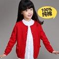 Novo 2015 Primavera Outono Roupa Dos Miúdos Meninas Cardigan Casaco Camisola de Malha de Algodão de Boa Qualidade, Blusas Sueter Infantil das meninas