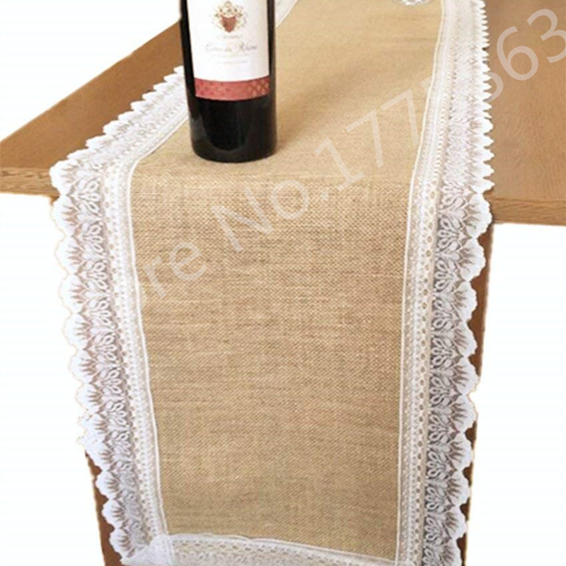 36 275cm Hessian Burlap Jute Table Runner With Beige Lace