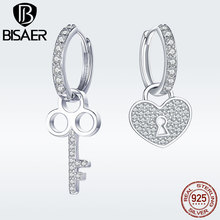 BISAER 925 Sterling Silver Heart Shape Lock and Key Love Earrings for Women Clear Cubic Zirconia Fashion Jewelry Brincos GXE577