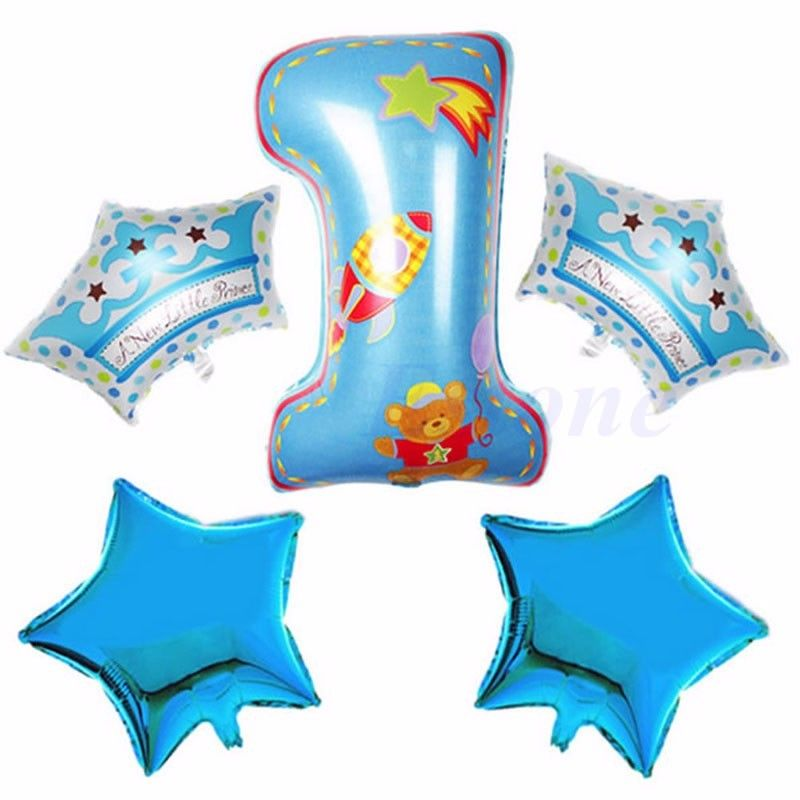 Foil Number Balloons Boy Girl Shower Baby 1th Birthday Balloon Party Decoration