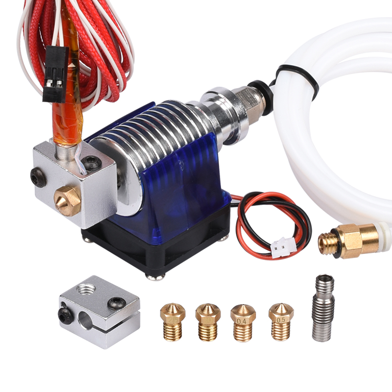 3D Printer J-head Hotend With Single Cooling Fan, PTFE, For 1.75mm/3.0mm Filament 3D V6 Bowden Extruder 0.2/0.3/0.4/0.5mm Nozzle new 12v e3d v6 3d printer extruder j head hotend 0 4mm nozzle for 1 75mm filament fan