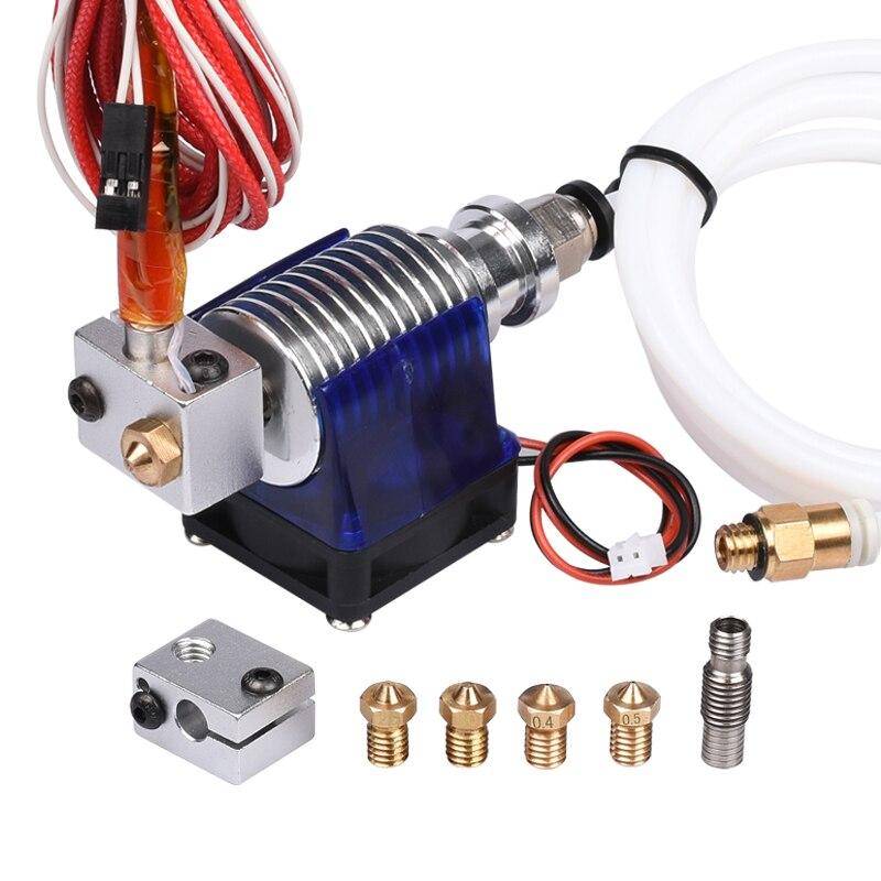 3D impresora j-head hotend con ventilador de enfriamiento único, PTFE, para 1.75mm/3.0mm filamento 3D V6 Bowden extruder 0.2/0.3/0.4/0.5mm boquilla
