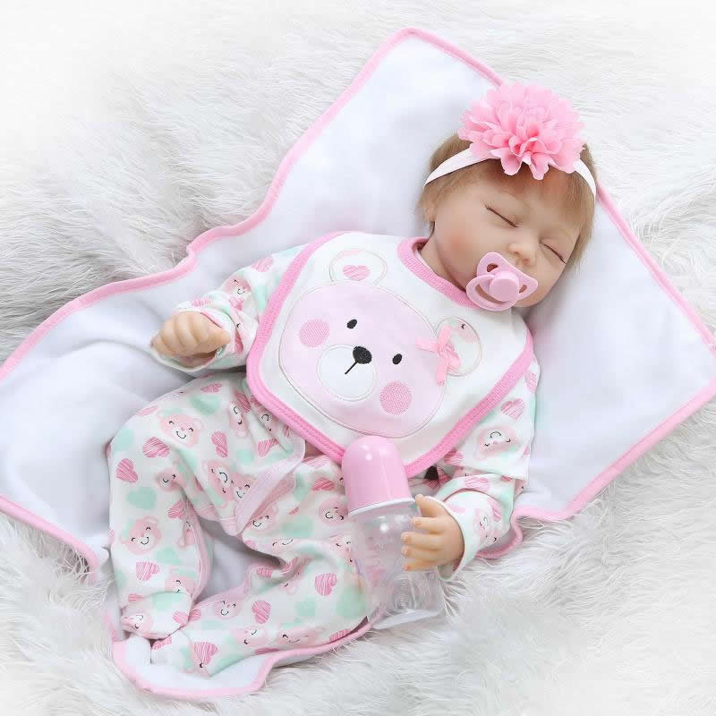 New 22 Inch Sleeping Reborn Newborn Baby Doll Handmade Soft Silicone Babies Girls With Clothes Kids Birthday Christmas Gift can sit and lie 22 inch reborn baby doll realistic lifelike silicone newborn babies with pink dress kids birthday christmas gift