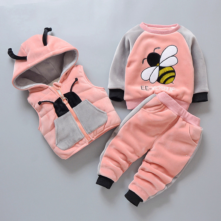 0-4 Years Velvet Baby Girls Clothing Sets Thick Warm Kids Boys Clothes Outfit Suits Cute Animal Child Winter Coat Kids Snowsuit