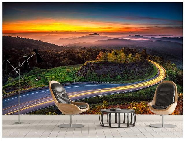 High Quality Sale New Custom 3d Wallpaper Murals Natural Beauty Adornment Beautiful Colorful Cloud Mountain Road Wall Decor