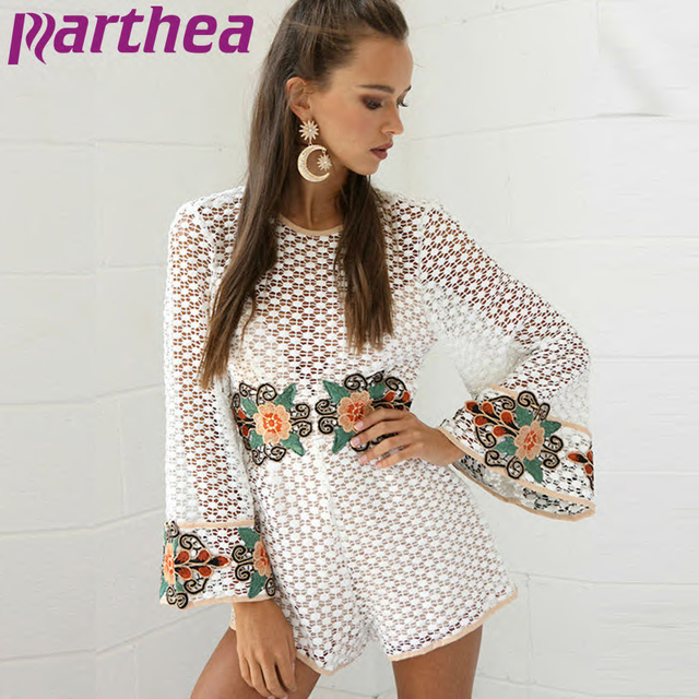 1fa96b1996c68 Parthea White Lace Crochet Rompers Women Playsuit Long Flare Sleeve  Embroidery Flower Short Jumpsuit Sexy Bodysuit Overalls New