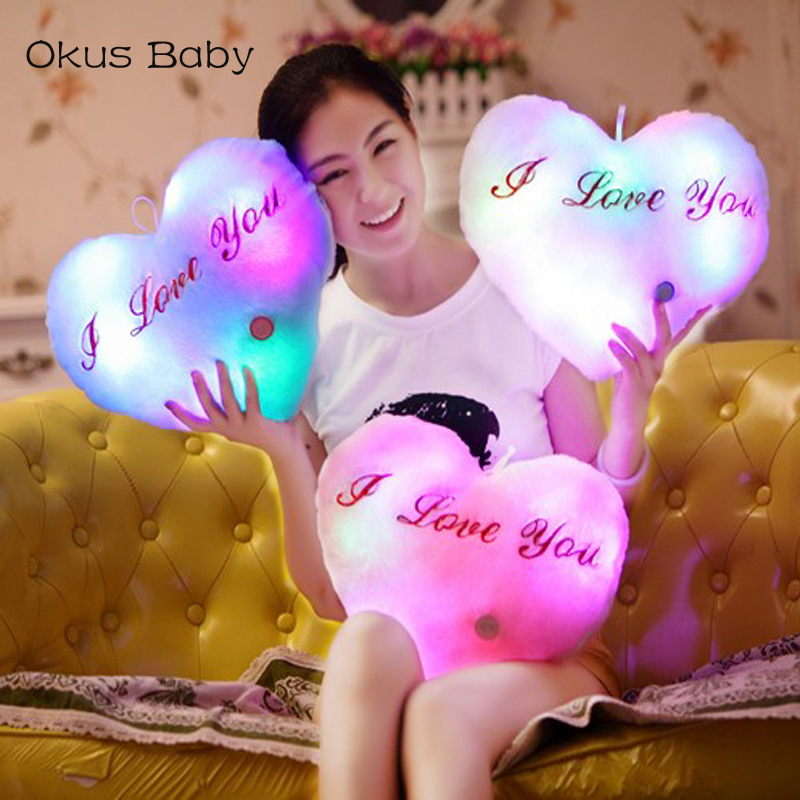 Heart Shaped Pillow Plush Light - Up Toys Glowing Toys With English Letter Kids Gift for Girl Friend Stuffed Pillow letter word printing soft plush square pillow case
