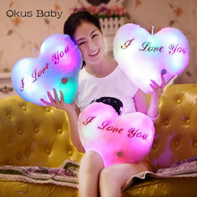 Heart Shaped Pillow Plush Light - Up Toys Glowing Toys With English Letter Kids Gift for Girl Friend Stuffed Pillow(China)