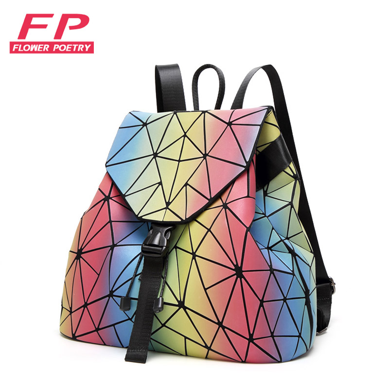 Flower Poetry Women Backpack Female Fashion Daily Student Backpack For Teenage Girls Geometry Package Sequins Folding School Bag