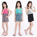 Ez Studio Girls Print Challis Rompers Jumpsuits Kids Clothing For Girls Lace children set Clothes