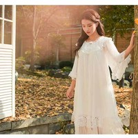 Spring Summer Woman Nightgown Lace Sleeve Lace Sleepwear Dress Mesh Patchwork Princess Nightdress