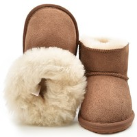2018 Australia Baby Girls Boots Winter Sheep Skin Leather And Fur Baby Botas Waterproof Infant Leather Boots Boys Bootie Shoes