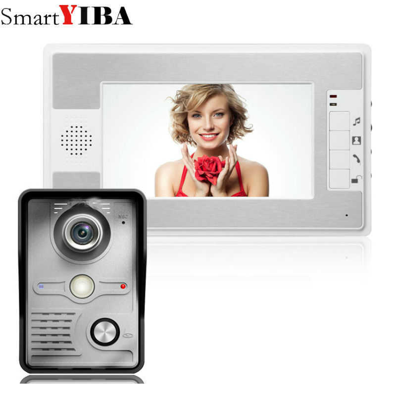SmartYIBA  Video Doorbell System Kit 7 Inch Monitor Video Door Phone with Electric lock-control function HandsfreeSmartYIBA  Video Doorbell System Kit 7 Inch Monitor Video Door Phone with Electric lock-control function Handsfree