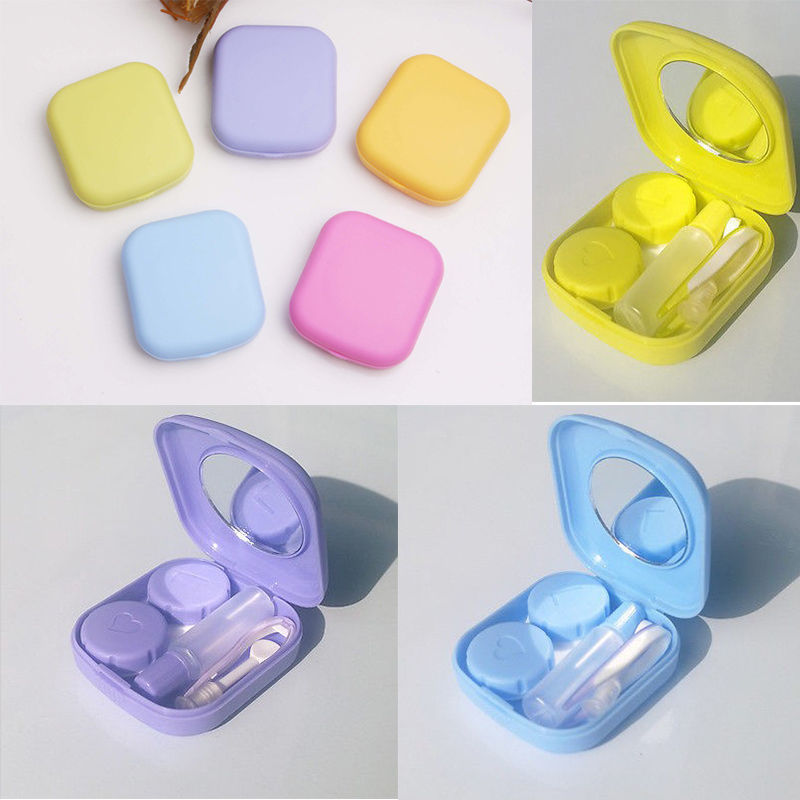 1 pc Pocket Mini Contact Lens Case Travel Kit Mirror Container High Quality Cute  hot selling