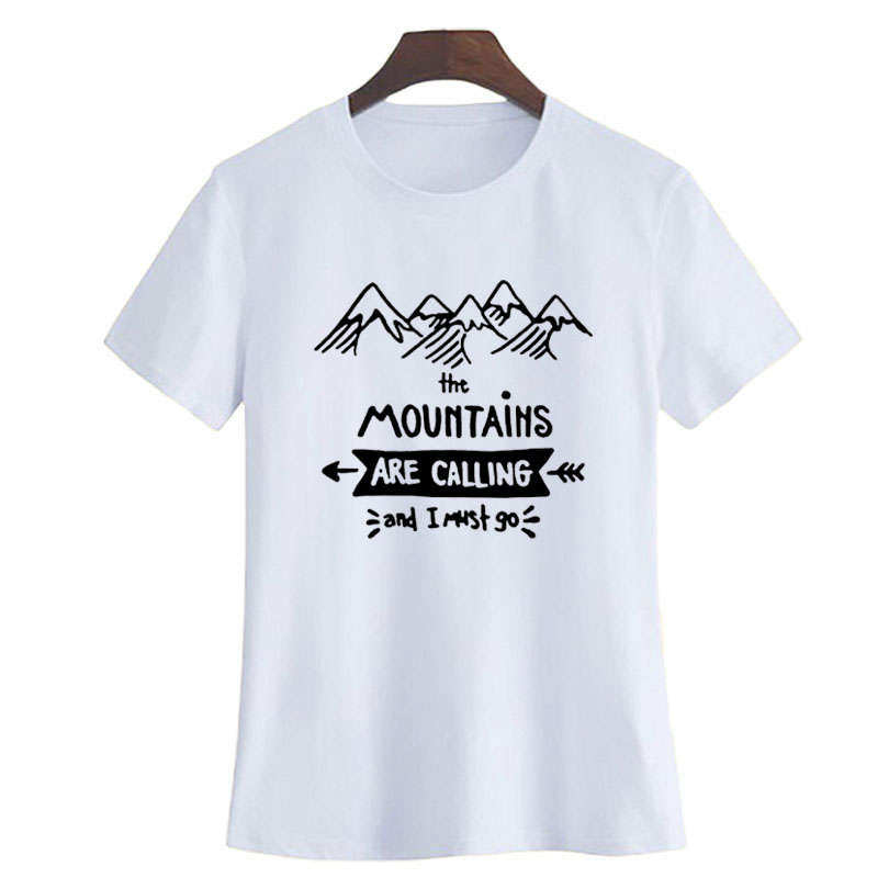 The Mountain T Shirts Cool Workout Travel Black White Printing Short Sleeve Women Graphic Tee Travel By Walking Lovers Tshirt