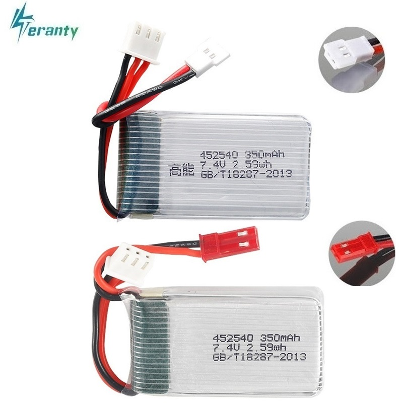 2s 7.4v 350mah 35C Lipo Battery for MJX X401H X402 JXD 515 515W 515V Battery RC Mini FPV Drone Quadcopter Helicopters 3.7v 2pcs(China)