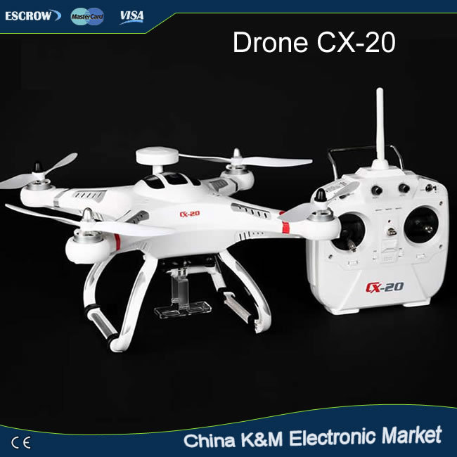 Newest Cheerson CX-20 2.4G 4-axis Professional RC Drone with GPS & Auto Return FPV rc quadcopter with Camera optional