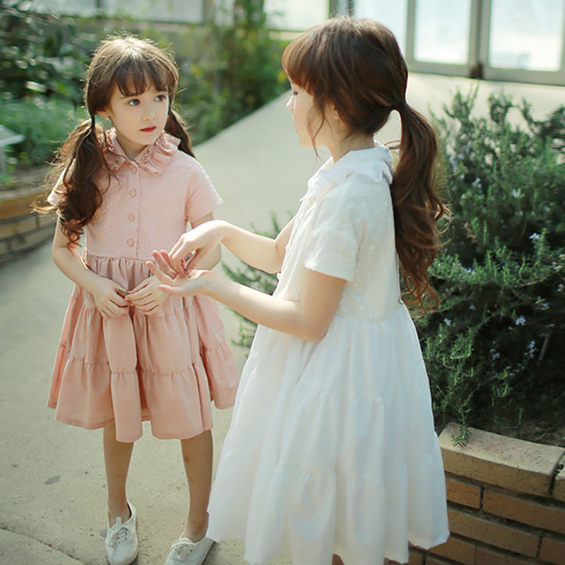 lace little teenage girls summer dress cotton pink white princess girl dress summer with sleeves 2017 new arrive knee length lace mesh little teenage girls party dress layered spring summer 2017 long girl princess gown dress white pink sundress clothes