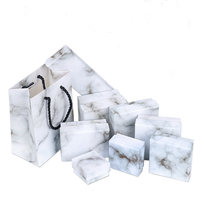Factory Price  New Marble Jewelry Packaging Box Jewelry Box Wholesale Necklace Earring Jewelry Box Can Customized Logo