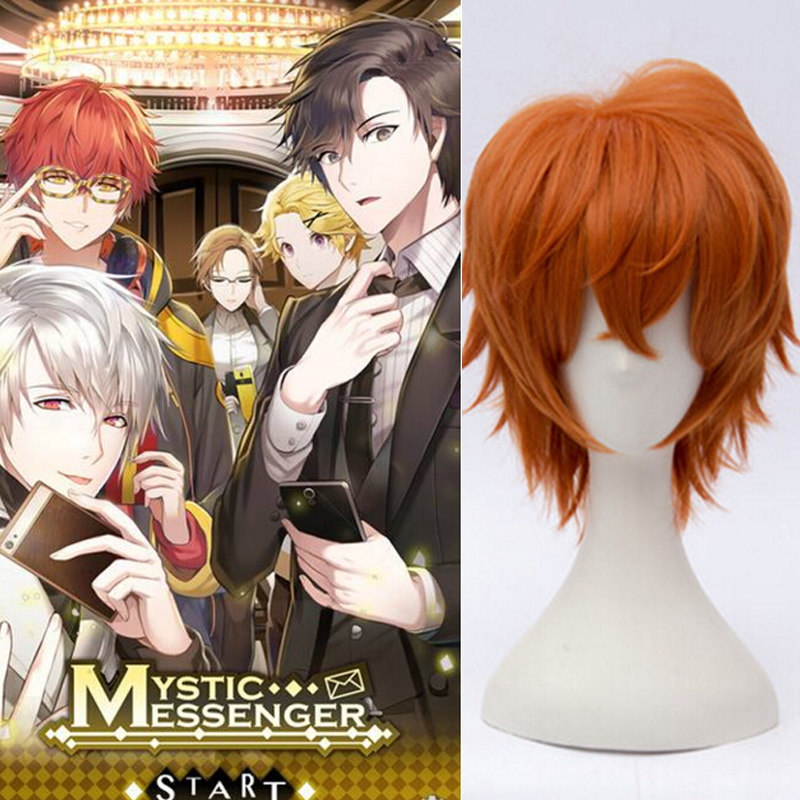 Mystic messenger 707 cosplay wig Anime Cosplay Red short ...