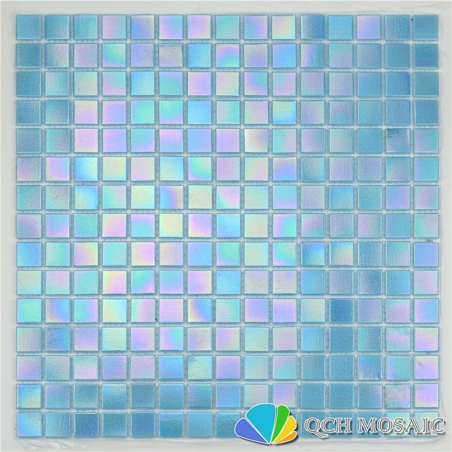 Blue iridescent color glass mosaic tile swimming pool tile bathroom kitchen backsplash wall tile 46square feet/lot