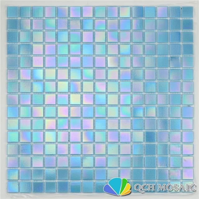 Blue iridescent color glass mosaic tile swimming pool tile bathroom ...