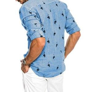 Image 3 - قمصان رجالي عصرية غير رسمية مطبوعة برسومات الفلامنغو الاجتماعية قطن كتان مقاس ضيق مناسب للصيف ياقة كورية هاواي كم طويل رجال أعمال