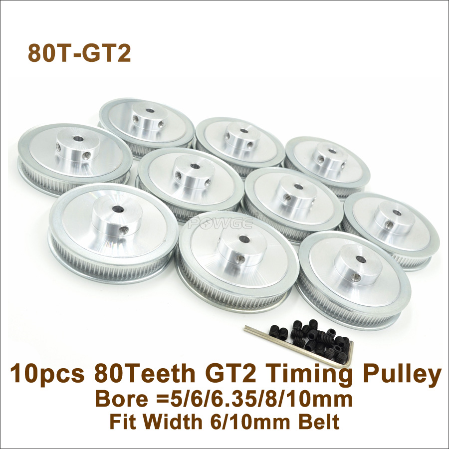 POWGE 80 Teeth 2GT Timing Pulley Bore 5 6 6 35 8 10mm Fit W 6