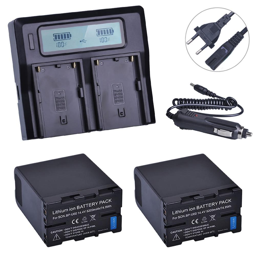 2 pz BPU60 BP-U60 BP U60 Batteria Ricaricabile Li-Ion 5200 mAH + LCD Fast Charger Kit per Sony XDCAM EX PMW100 PMW150 PMW160 PMW200