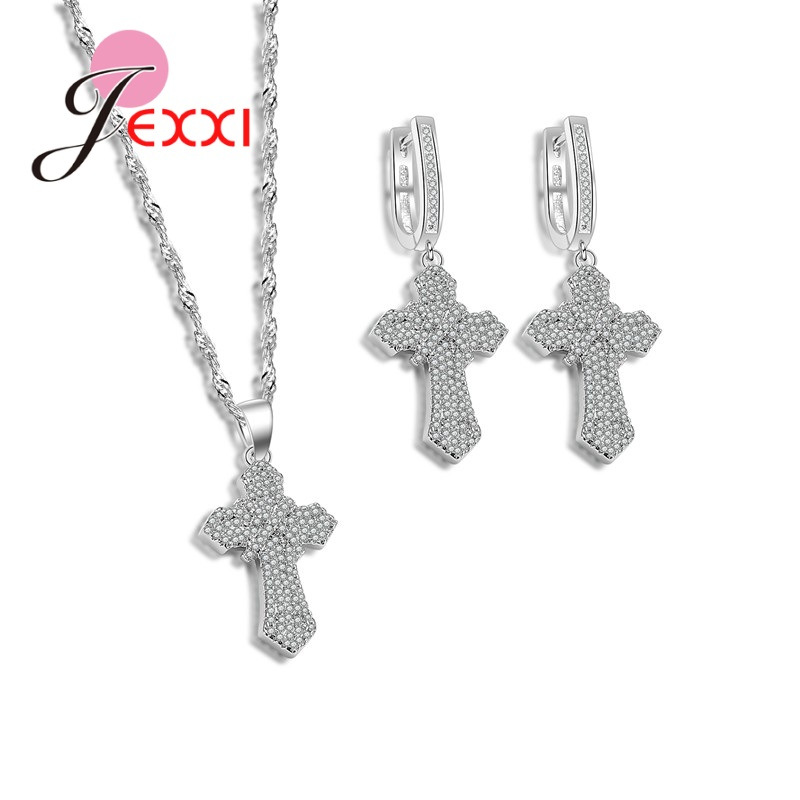 JEXXI New Trendy Intersect Cross Necklace Earrings Set Fashion 925 Sterling Silver Crystal Jewelry Sets For Party Decoration
