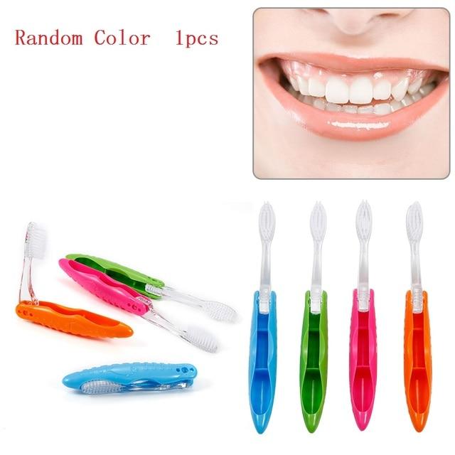 Plegable al azar Color 1 pc de cepillo de dientes de portátil cepillo de dientes de cerdas suaves campamento de vacaciones al aire libre cepillo de dientes