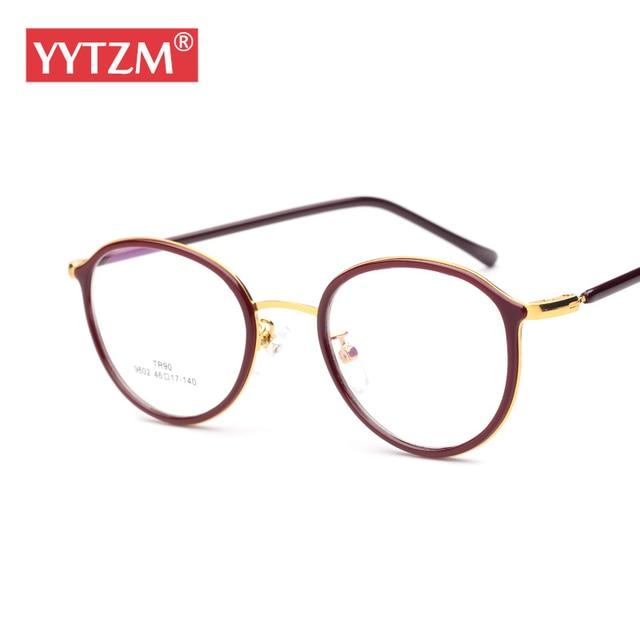 c12d69a5d Literatura YYTZM Óculos Redondo Retro Bonito Óculos de Computador Óculos de  Armação mulheres Oliver peoples óculos
