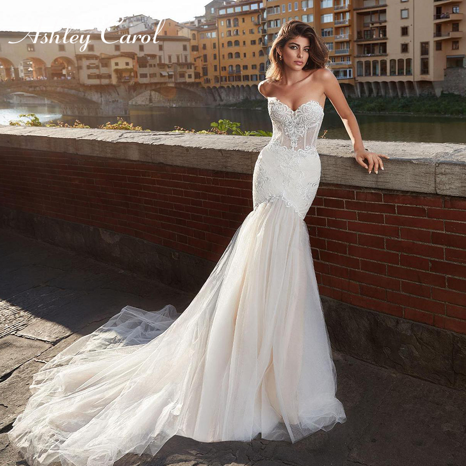 Ashley Carol Sexy Sweetheart Strapless Lace Mermaid Wedding Dress 2019 Romantic Court Train Appliques Backless Wedding Gowns