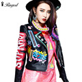 Europe Autumn New Leather Jacket Women Fashion Letter Print Pattern Leather Coats Graffiti Crazy Style Jackets jaqueta de couro