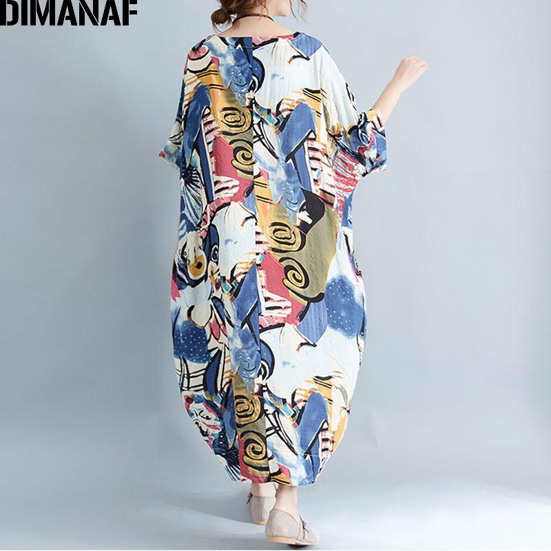 DIMANAF Plus Ölçü Donu Qadın Yaz Naxışlı Patchwork Çap - Qadın geyimi - Fotoqrafiya 6
