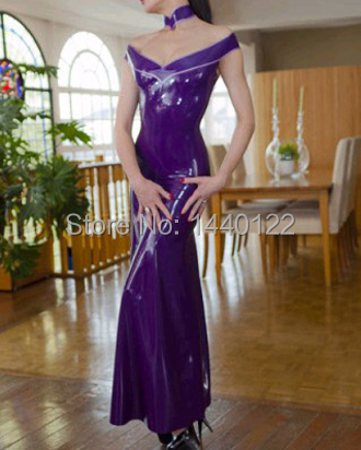 Sexy Latex Long Gowns For Women Purple Fetish Vestidos Club Wear Dresses  Plus Size Hot Sale Customize Service-in Dresses from Women s Clothing on ... cff7580df5a6