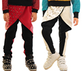 Adulto crianças meninos rebite panelled patchwork calças lápis slim preto branco do falso couro sweatpants harem hip hop calças de dança