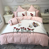 4/6/7Pcs Egypt cotton Embroidered Flowers and birds luxury Bedding Set lace Duvet cover set Bedsheet Pillowcases Queen King Size