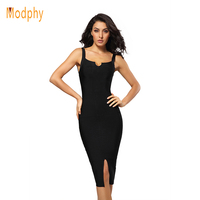 Women sexy knee length spaghetti strap split front hem black white rayon hl bandage dress elastic tight night club dress HL480