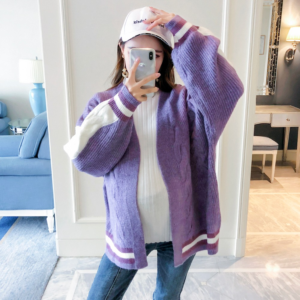 Pregnant women wearing sweater coat 2018 autumn new fashion long-sleeved knit cardigan large size casual maternity dress winter maternity sweater geometric patterns knit cardigan sweater coat warm clothes for pregnant women maternity clothing size l