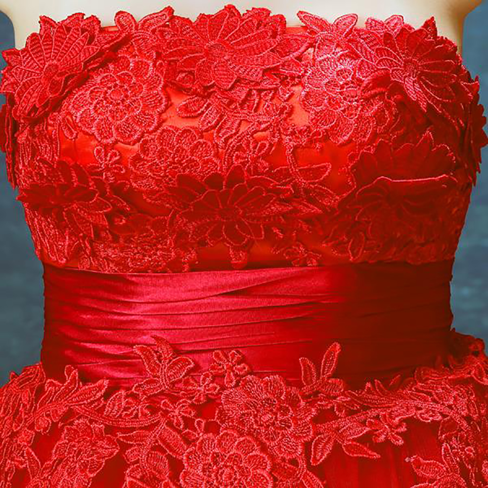 1c92f065515 zkc uncle 18 25 year old off shoulder sleeveless slim lace flower dress  ball gown red Evening Dresses.2416