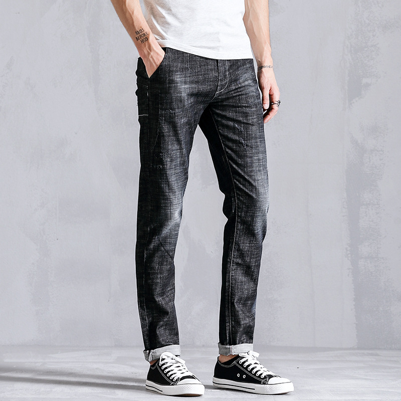 H.A.Sueno Vintage Men`s Dark gray Jeans Mid Stripe Slim Straight Denim Pants Male high Quality  Brand Jeans Men classic mid stripe men s buttons jeans ripped slim fit denim pants male high quality vintage brand clothing moto jeans men rl617