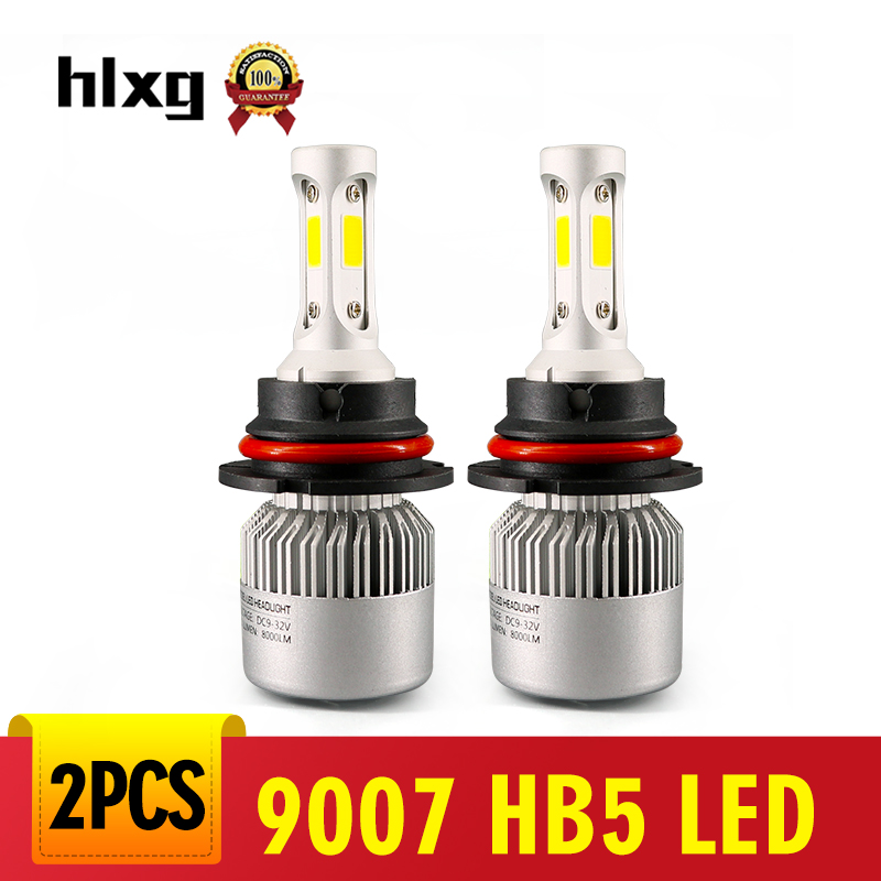 Hlxg 1 Pair 6500k 9007 Hb5 Led Hi/lo Beam Car Headlight 72w 8000lm/set Cob Chips 24v Led Automoibles Car Styling Novel Design; In