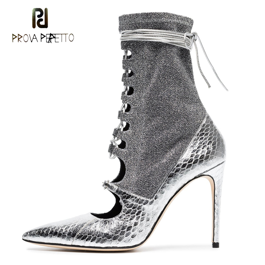 Prova Perfetto sexy pointed toe stiletto heel lady short boot cross tied hollow spring autumn shoe stretch patchwork ankle bootsProva Perfetto sexy pointed toe stiletto heel lady short boot cross tied hollow spring autumn shoe stretch patchwork ankle boots