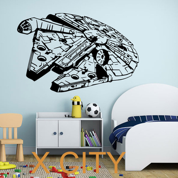 STAR WARS MILLENIUM FALCON vinyl wall art decal poster film hitam sticker dekorasi kamar tidur 2 ukuran