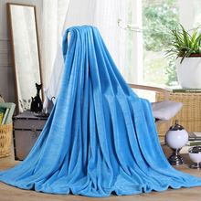 120*200 cm 150*200 180*200cm 200*230cm size Flannel solid blue color blanket air/sofa/bedding throws soft plaids bedsheet