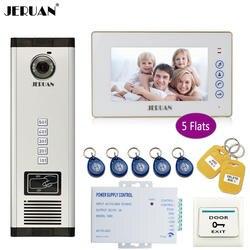JERUAN 7 ''белый монитор 700TVL Камера телефон видео домофон доступа ворот дома запись безопасности комплект для 5 семей квартиры