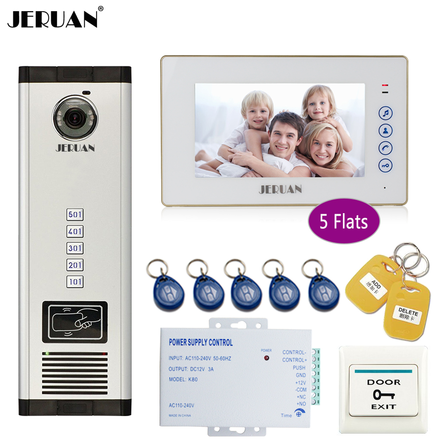 JERUAN 7`` White Monitor 700TVL Camera Video Door Phone Intercom Access Home Gate Entry Security Kit for 5 Families Apartments jeruan 7 monitor 700tvl camera video door phone intercom access control home gate entry security kit for 8 families apartments